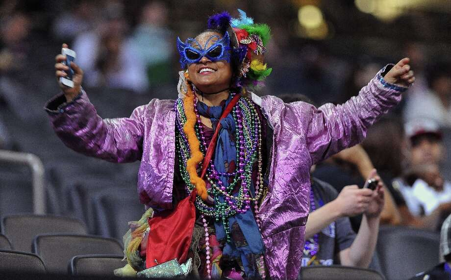 Fans were allowed in the stands during Media Day for a nominal charge, and this refugee from Mardi Gras was making sure she was being noticed during the Baltimore Ravens portion of Media Day at the Mercedes Benz Super Dome in New Orleans, Louisiana, Tuesday, January 29, 2013. Photo: GENE SWEENEY JR., McClatchy-Tribune News Service / Baltimore Sun