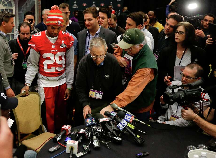 San Francisco 49ers cornerback Chris Culliver (29) takes a seat to answer questions Thursday, Jan. 31, 2013, in New Orleans, regarding anti-gay remarks he made during Super Bowl media day Tuesday. Culliver apologized for the comments he made to a comedian during an interview, saying that's not what I feel in my heart. The 49ers are scheduled to play the Baltimore Ravens in the NFL Super Bowl XLVII football game on Feb. 3. Photo: Mark Humphrey, Associated Press / AP