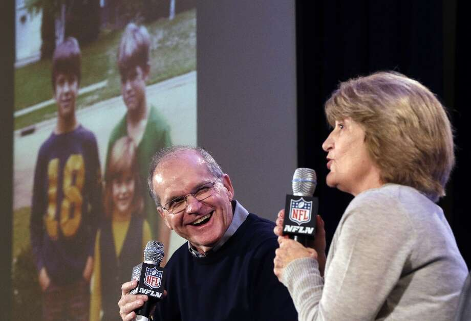 Jack and Jackie Harbaugh, parents of Baltimore Ravens head coach John Harbaugh and San Francisco 49ers head coach Jim Harbaugh, laugh during a news conference, Wednesday, Jan. 30, 2013, for NFL football's Super Bowl XLVII in New Orleans. Their sons will be coaching against each other in the Super Bowl on Sunday. Photo: Gerald Herbert, Associated Press / AP