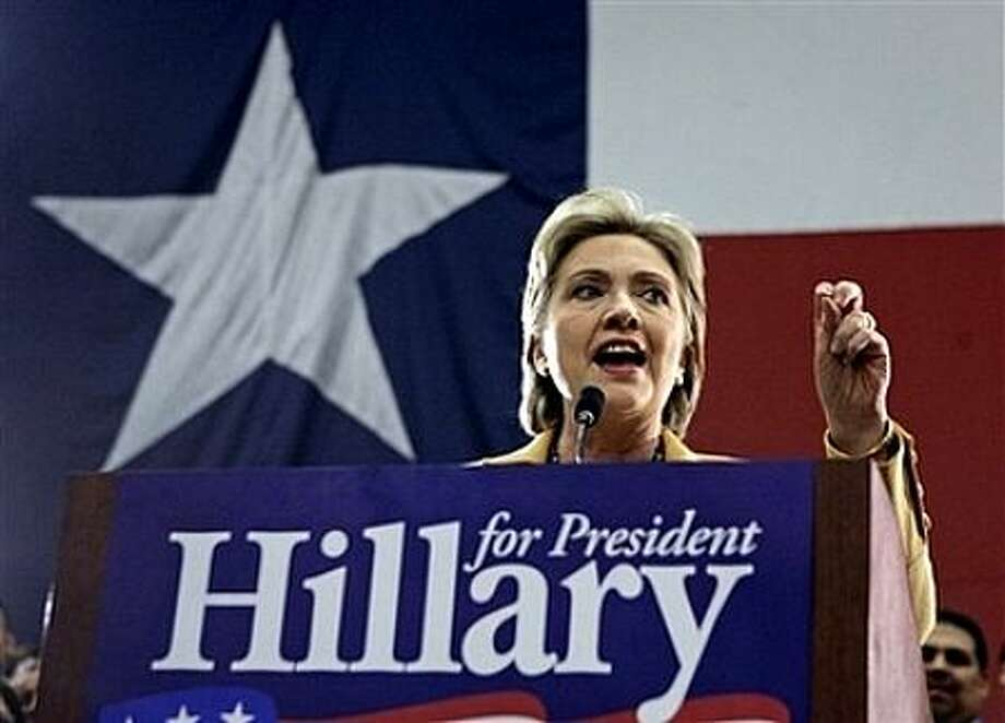 Democratic presidential hopeful, Sen. Hillary Rodham Clinton, D-N.Y., gestures during a campaign stop at the McAllen Convention Center in McAllen, Texas., Wednesday, Feb. 13, 2008. Photo: Carolyn Kaster, AP / AP