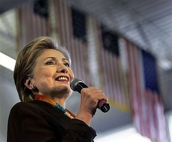 Democratic presidential hopeful Sen. Hillary Rodham Clinton, D-N.Y., speaks at a campaign event in Yankton, S.D., Monday, June 2, 2008. Photo: Elise Amendola, AP / AP