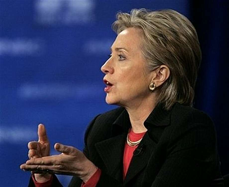 Democratic presidential hopeful Sen. Hillary Rodham Clinton, D-N.Y., gestures during a Democratic presidential debate in Las Vegas, Tuesday, Jan. 15, 2008. Photo: Jae C. Hong, AP / AP