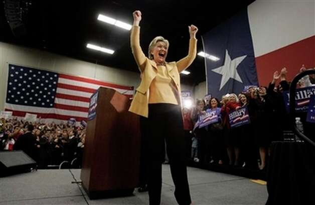 Democratic presidential hopeful Sen. Hillary Rodham Clinton, D-N.Y., gestures during a campaign stop at the McAllen Convention Center in McAllen, Texas, Wednesday, Feb. 13, 2008. Photo: Carolyn Kaster, AP / AP