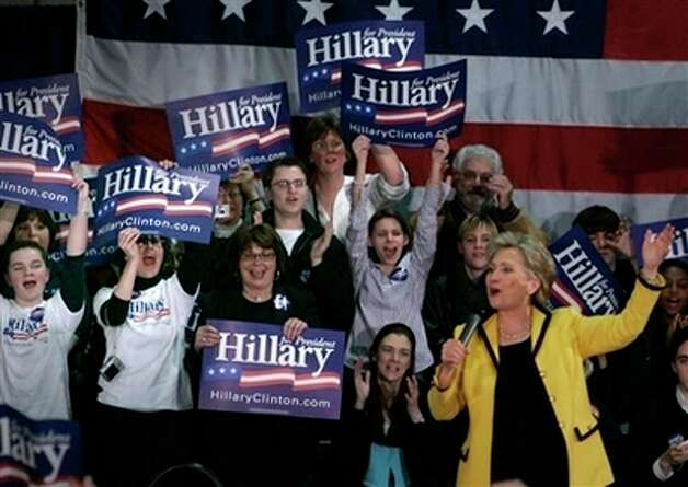 Supporters cheer on Democratic presidential hopeful, Sen. Hillary Clinton, D-N.Y., during a campaign stop at Clark University in Worcester, Mass., Monday Feb. 4, 2008, in the final campaign push before Super Tuesday. Photo: Charles Krupa, AP / AP