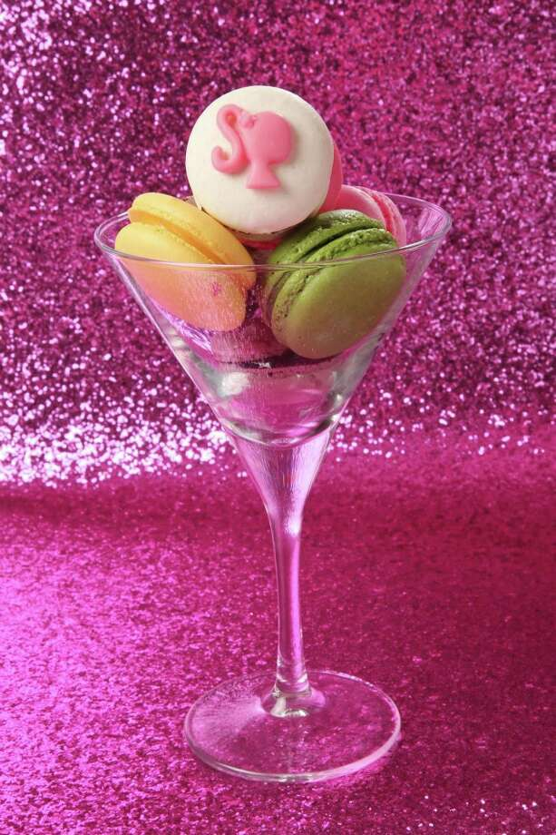Macaroons served in a martini glass.