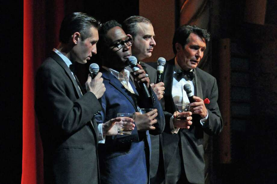 "Sandy Hackett (third from the left) is playing his mentor and unofficial ""uncle"" Joey Bishop in the ""Rat Pack"" show that he is bring to Waterbury's Palace Theater on Friday, Feb. 8. Also in the show are (left to right) David DeCosta as Frank Sinatra, Nicholas Brooks as Sammy Davis Jr. and Tom Wallek as Dean Martin. Photo: Contributed Photo"