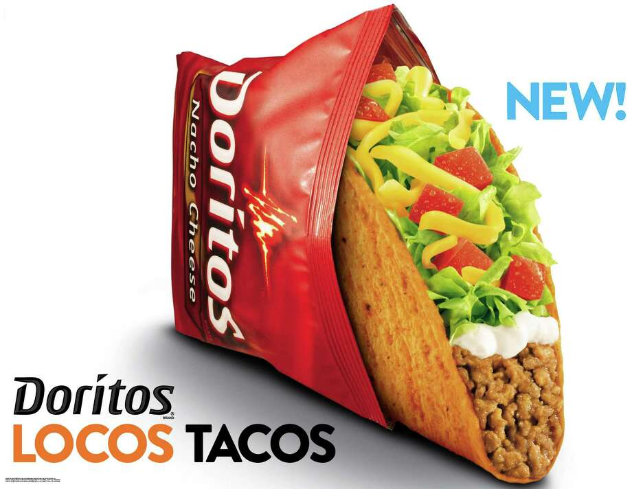 FILE - This undated image provided by Taco Bell shows an advertisement for Doritos Locos Tacos shells. Taco Bell has put the spice back in its U.S. sales after a nearly yearlong slump stemming from a short-lived lawsuit that created a stir. The Mexican-style chain saw its revenue at U.S. restaurants open at least a year rise 6 percent in the first quarter. And its parent company, Yum Brands Inc., is predicting more robust sales in the second quarter. Yum Chief Financial Officer Rick Carucci on Thursday, April 19, 2012 predicted sales growth in the high single digits or low double digits. He said the chain is rebounding thanks to a successful launch of its tacos that use shells made out of Nacho Cheese Doritos. The chain suffered a sales slump in the months after a now-dropped lawsuit last year questioned the beef content of its tacos and burrito filling. (AP Photo/Taco Bell) Photo: Anonymous, HOEP / AP2012