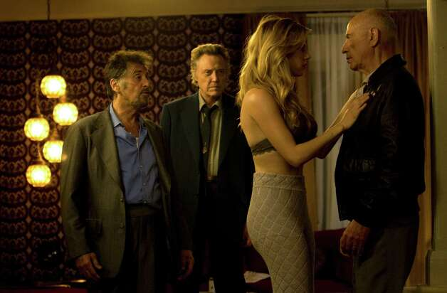 Al Pacino (left, as Val), Christopher Walken (left-center, as Doc), Katheryn Winnick (right-center, as Oxana) and Alan Arkin (right, as Hirsch) star in STAND UP GUYS. Photo Credit: Saeed Adyani/Roadside Attractions
