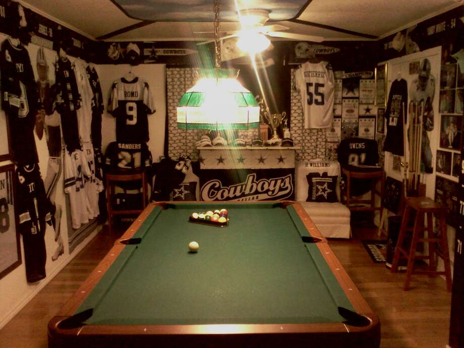 These decked-out man caves are suitable for any football fan.  Photo: Courtesy Of Vic.Gutierre