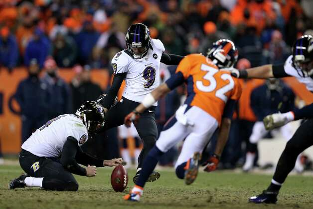 Justin Tucker #9 of the Baltimore Ravens kicks a successful 47-yard game-winning field goal in the second overtime to win 38-35 against the Denver Broncos during the AFC Divisional Playoff Game at Sports Authority Field at Mile High on January 12, 2013 in Denver, Colorado. Photo: Jeff Gross, Getty Images / 2013 Getty Images