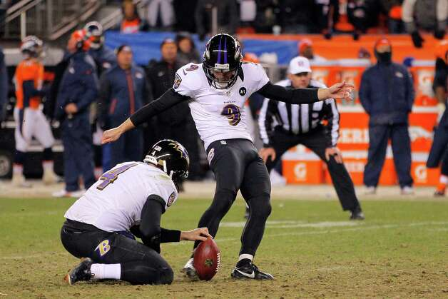Justin Tucker #9 of the Baltimore Ravens kicks a successful 47-yard game-winning field goal in the second overtime to win 38-35 against the Denver Broncos during the AFC Divisional Playoff Game at Sports Authority Field at Mile High on January 12, 2013 in Denver, Colorado. Photo: Doug Pensinger, Getty Images / 2013 Getty Images