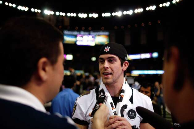 Justin Tucker #9 of the Baltimore Ravens answers questions from the media during Super Bowl XLVII Media Day ahead of Super Bowl XLVII at the Mercedes-Benz Superdome on January 29, 2013 in New Orleans, Louisiana. The San Francisco 49ers will take on the Baltimore Ravens on February 3, 2013 at the Mercedes-Benz Superdome. Photo: Chris Graythen, Getty Images / 2013 Getty Images