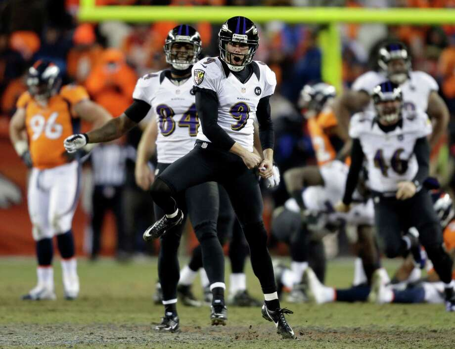 ADVANCE FOR WEEKEND EDITIONS, FEB. 2-3 - FILE - In this Jan. 12, 2013, file photo,  Baltimore Ravens kicker Justin Tucker (9) reacts after kicking the game-winning field goal against the Denver Broncos during the second overtime of an AFC divisional playoff NFL football gamein Denver. This indoor, New Orleans-style Super Bowl between Baltimore and San Francisco could come down to the kickers, the shaky 15-year veteran, David Akers, who's experiencing one of the worst years of his career coming off the best, and Tucker, an undrafted rookie who kicked the game-winner in double-overtime at Denver in the divisional playoffs. (AP Photo/Joe Mahoney, File) Photo: Joe Mahoney, Associated Press / FR170458 AP