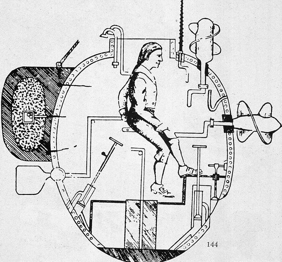 American inventor David Bushnell invented an experimental submarine called the Turtle in 1775. An operator  turned a handle to work the propeller. Air in the vessel was sufficient for it to  remain submerged for 30 minutes. During the Revolutionary War, colonists made several unsuccessful attempts to use the Turtle, armed with a mine, to blow up British warships. Photo: MPI, Getty Images / Archive Photos