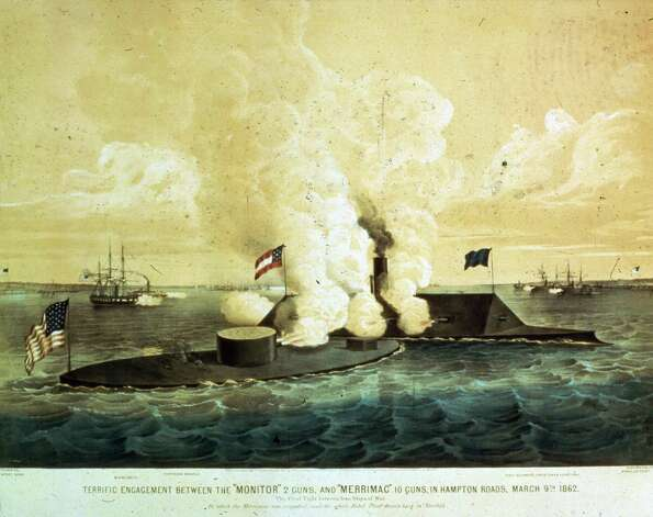 "At dawn on March 9, 1862, CSS Virginia arrived at Hampton Roads, Va., prepared to take out the grounded steam frigate Minnesota and other Union ships blockading the lower Chesapeake Bay. But the ironclad USS Monitor had arrived the previous evening from New York. According to a U.S. Navy writeup: ""Both ships hammered away at each other with heavy cannon, and tried to run down and hopefully disable the other, but their iron-armored sides prevented vital damage. Virginia's smokestack was shot away, further reducing her already modest mobility, and Monitor's technological teething troubles hindered the effectiveness of her two eleven-inch guns, the Navy's most powerful weapons."" The battle ended in a stalemate.