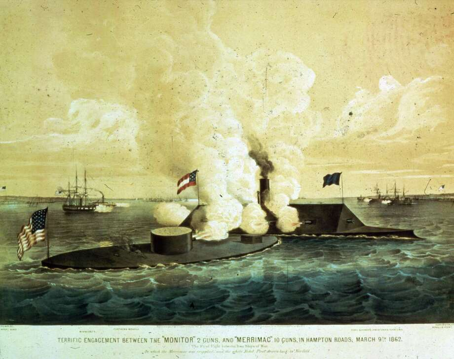"""At dawn on March 9, 1862, CSS Virginia arrived at Hampton Roads, Va., prepared to take out the grounded steam frigate Minnesota and other Union ships blockading the lower Chesapeake Bay. But the ironclad USS Monitor had arrived the previous evening from New York. According to a U.S. Navy writeup: """"Both ships hammered away at each other with heavy cannon, and tried to run down and hopefully disable the other, but their iron-armored sides prevented vital damage. Virginia's smokestack was shot away, further reducing her already modest mobility, and Monitor's technological teething troubles hindered the effectiveness of her two eleven-inch guns, the Navy's most powerful weapons."""" The battle ended in a stalemate. When the Confederates were forced to abandon Norfolk later that year, they tried to lighten the Virginia enough to allow her to move up the James River, but couldn't. So they destroyed her six miles off shore on May 11, 1862. The Monitor remained in the Hampton Roads area and then moved up the James River in support of the Army. In late December 1862, while moving south for further operations, she was caught in a storm off Cape Hatteras, N.C., and sunk. Her wreck was discovered in 1974 and is now a marine sanctuary. Photo: MPI, Getty Images / Archive Photos"""