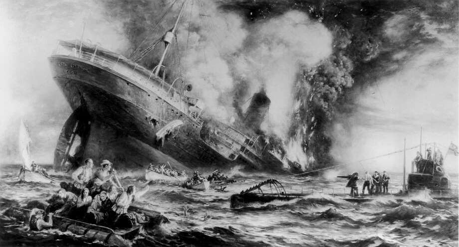 On May 7, 1915, a German U-boat torpedoed and sank the ocean liner Lusitania off the Old Head of Kinsale, Ireland, killing 1,198, including 128 Americans, and helping bring the United States into World War I. Photo: Three Lions, Getty Images / Hulton Archive