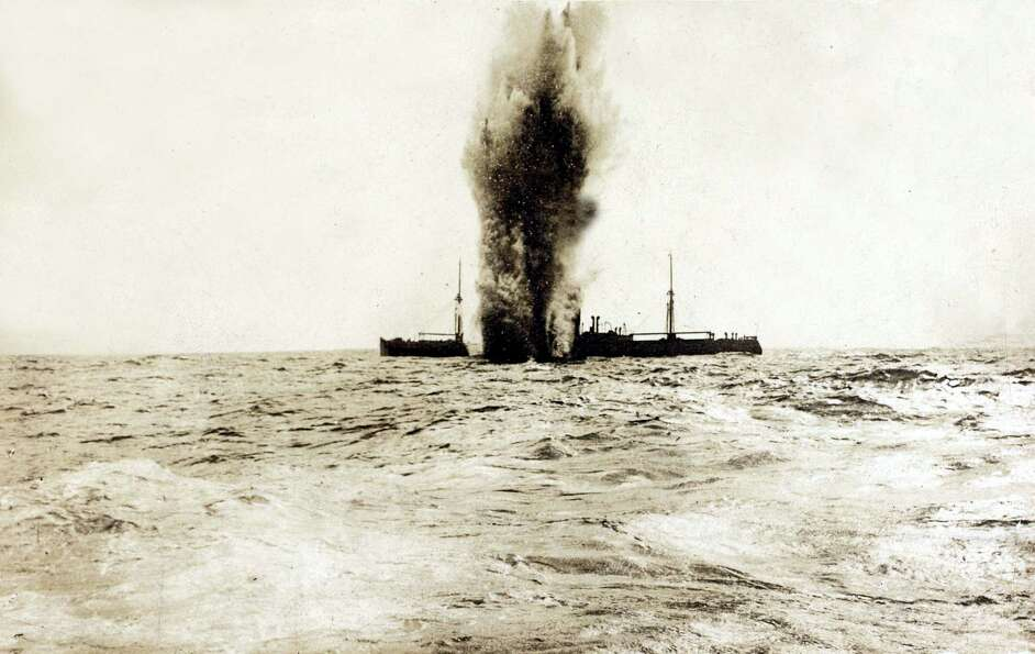 This picture shows a British steamer, seen from the German U-boat that just torpedoed it, in 1916.