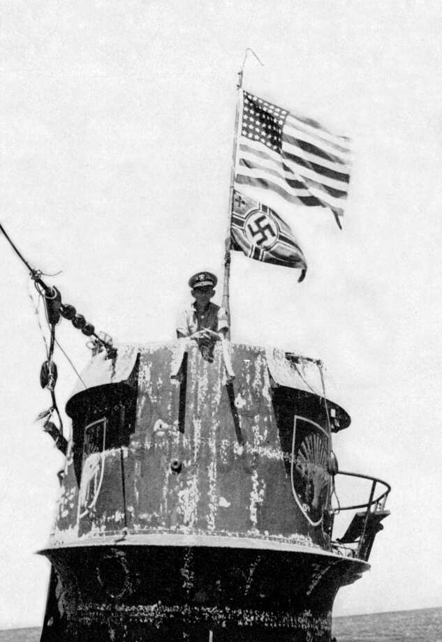 The American flag flies over German U-boat U-505 in 1944. Photo: Buyenlarge, Getty Images / Archive Photos