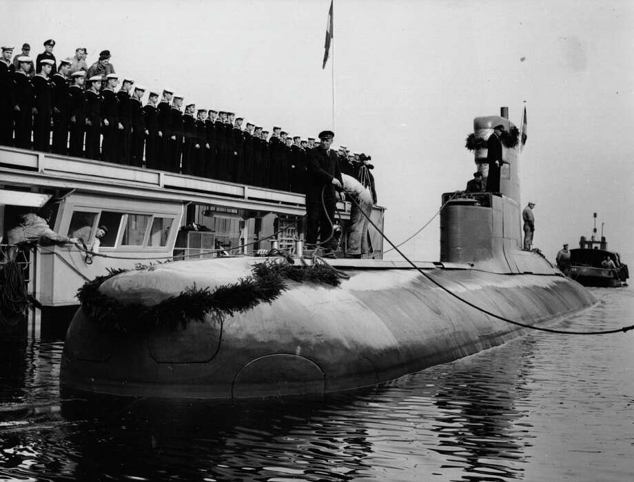 Germany's first post-World War II U-boat, the HAI, is shown after its launch in 1961. Photo: Central Press, Getty Images / Hulton Archive