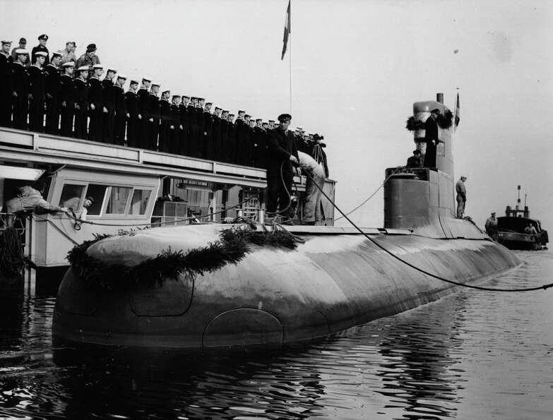 Germany's first post-World War II U-boat, the HAI, is shown after its launch in 1961.
