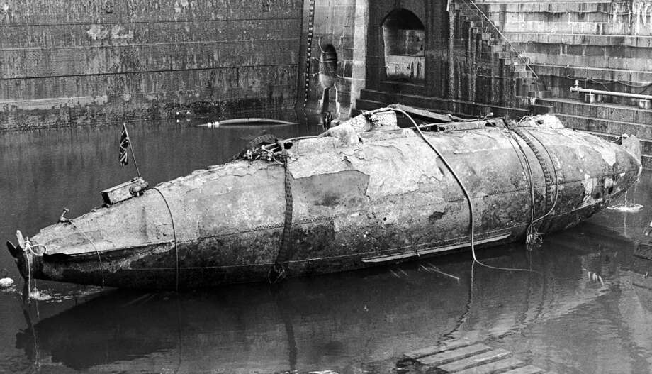 The Royal Navy's first submarine, the Holland 1, was launched in 1901, lost in 1913 while under tow to the scrapyard following decommissioning and recovered in 1982. It's shown here on Dec. 8, 1982. Photo: Hulton Archive, Getty Images / 2006 Getty Images