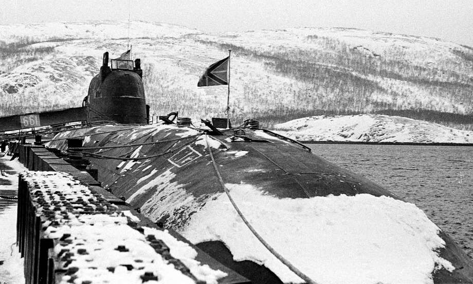 This picture, dated March 1995, shows the Russian nuclear submarine Kursk at its base in Vidyayevo, Russia. The Kursk suffered two explosions on Aug. 12, 2000 and sank to the bottom of the Barrents Sea. Despite rescue efforts, all 118 people aboard died. Photo: -, AFP/Getty Images / 2010 AFP