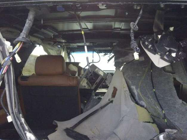 What the interior looked like after the Grizzly spent some time in the car.(Photos: flyfishalberta.blogspot.com)
