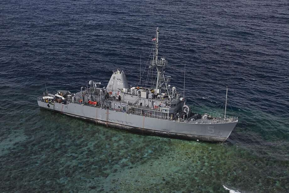 The minesweeper Guardian struck the Tubbataha Reef in the Philippines on Jan. 17. Photo: AW3 Geoffrey Trudell, Associated Press