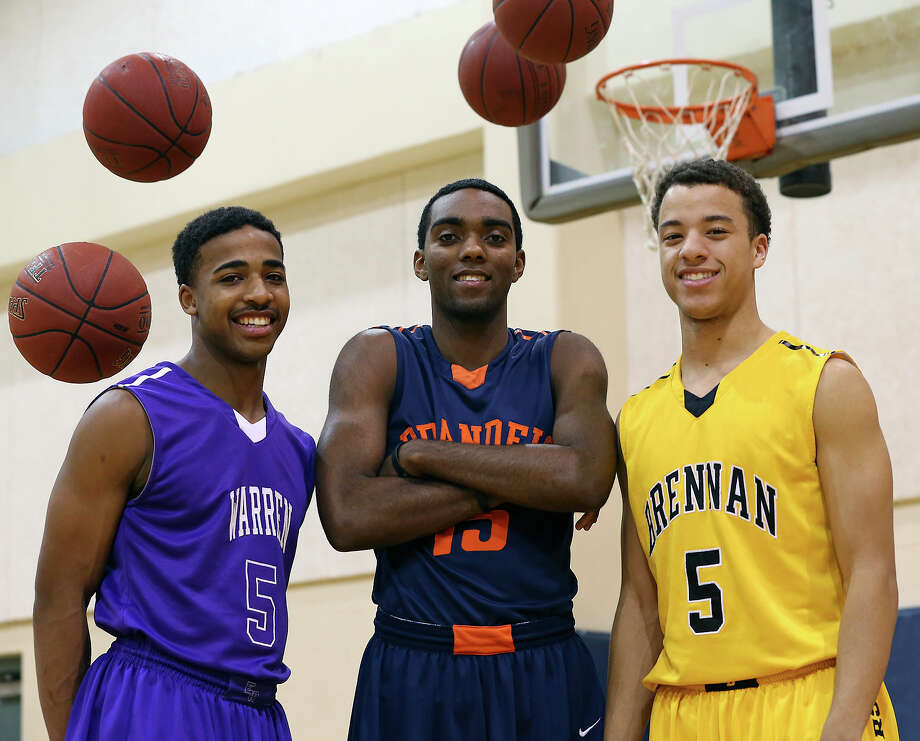 Three of the top high school point guards in tye city: Warren's Marcus Keene (from left), Brandeis' Justin Graham and Brennan's Johnny Azzinaro. Photo: Tom Reel, San Antonio Express-News / ©2012 San Antono Express-News