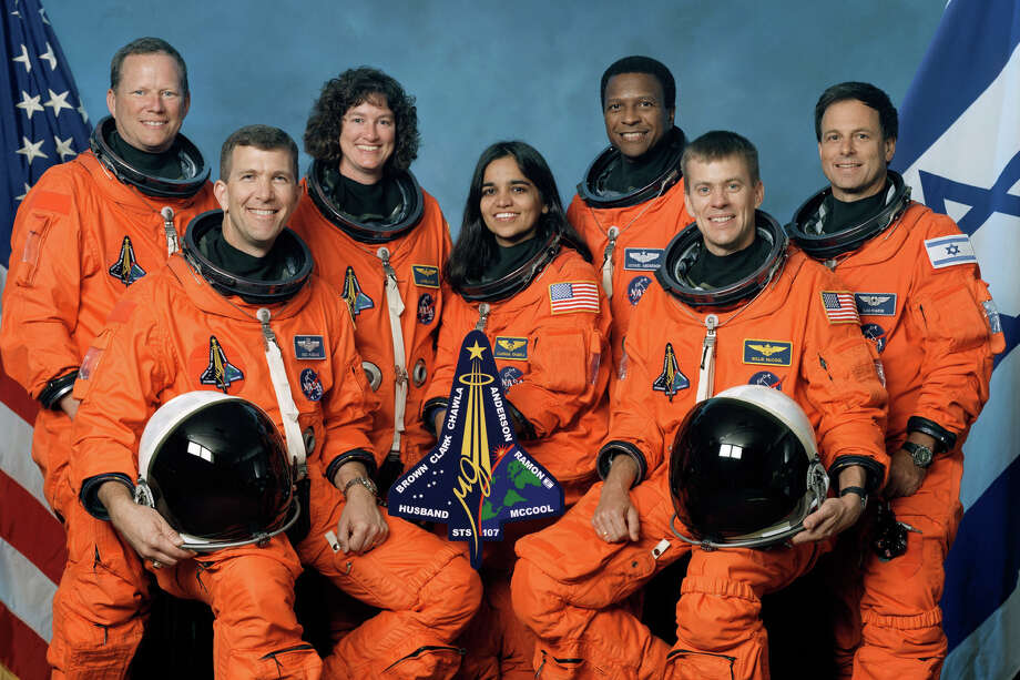 Space Shuttle Columbia crew, left to right, front row, Rick Husband, Kalpana Chawla, William McCool, back row, David Brown, Laurel Clark, Michael Anderson and Israeli astronaut Ilan Ramon are shown in this undated crew photo. Photo: HO / NASA