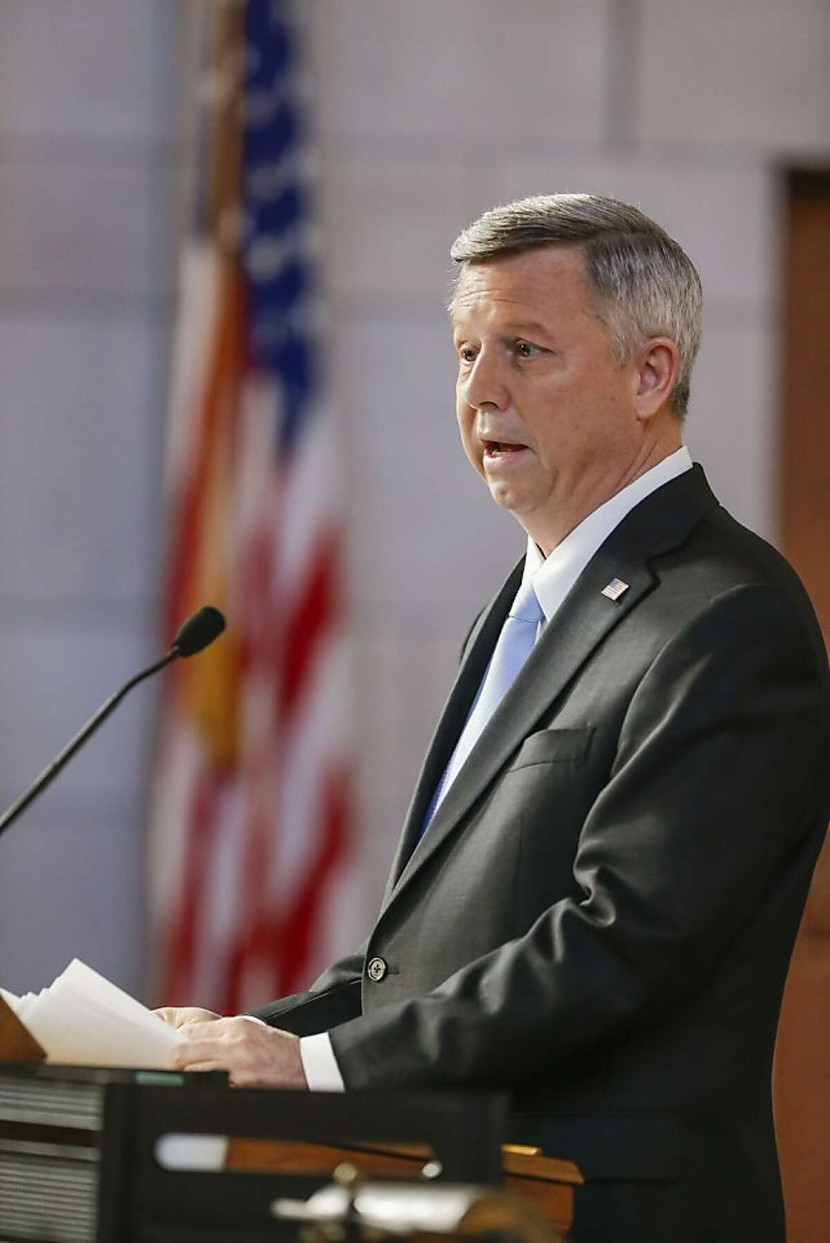 Nebraska Gov. Dave Heineman delivers the annual State of the State address to lawmakers in Lincoln, Neb., Tuesday, Jan. 15, 2013. Gov. Heineman is pushing for tax reform. (AP Photo/Nati Harnik)