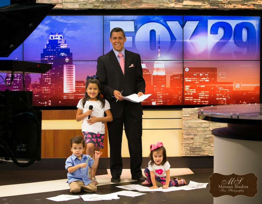 "Fox News First anchor Ernie Zuniga with his daughters Ava and Madeline and son Luke. They appear in the 2013 ""Man Have Babies Too"" fundraising calendar for the March of Dimes. Photo: Mensan Studios Fine Photography, Courtesy Photo"