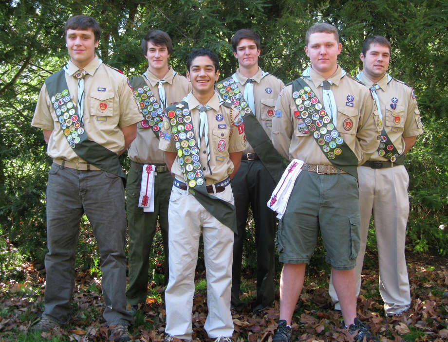 Fairfield's Troop 199 recently awarded six Boy Scouts -- almost a quarter of its membersip -- with the rank of Eagle Scout, bucking a nationwide trend of 5 percent of Boy Scouts reaching the organization's highest rank. The new Eagle Scouts are, from left to right, Will Poling, Will Fulda, Michael Connelly, Conor McGuinness, Eric Rasmussen and Michael McQuade. Photo: Contributed Photo