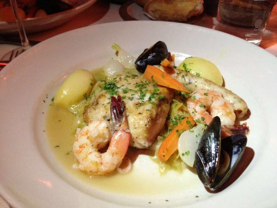 Seafood a la choucroute downstairs at Chez Panisse in Berkeley