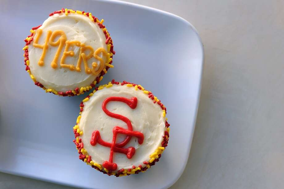 49ers and Ravens cupcakes are seen on display at Susie Cakes Bakery on Chestnut St. Susie Cakes Bakery on Chestnut St. has already received 400 orders for specialty 49er cakes, cupcakes and cookies, in San Francisco, CA on Wednesday January 30th, 2013.