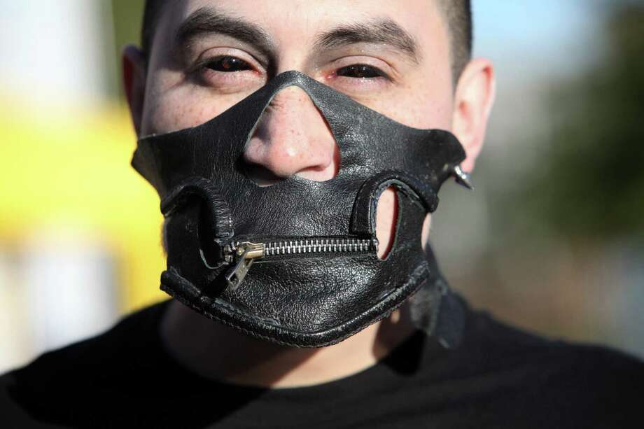 Hervey Estrada, 28, attends the event around the Born Brave Bus before the Lady Gaga Concert at the Toyota Center on Thursday, Jan. 31, 2013, in Houston. Photo: Mayra Beltran, Houston Chronicle / © 2013 Houston Chronicle