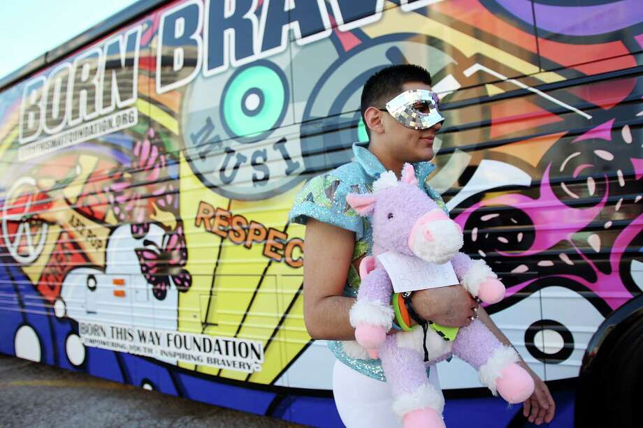Jose Chavez, 19, walks outside the Born Brave Bus before the Lady Gaga Concert at the Toyota Center on Thursday, Jan. 31, 2013, in Houston. Photo: Mayra Beltran, Houston Chronicle / © 2013 Houston Chronicle