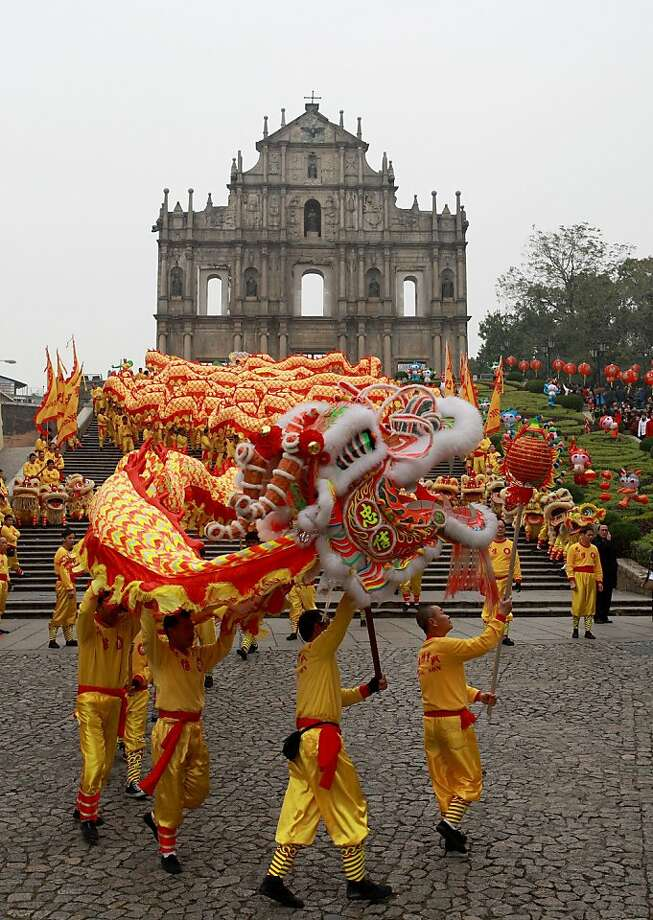 The lion dance is a traditional part of Lunar New Year celebrations in Macau. Photo: Macau Government Tourist Office