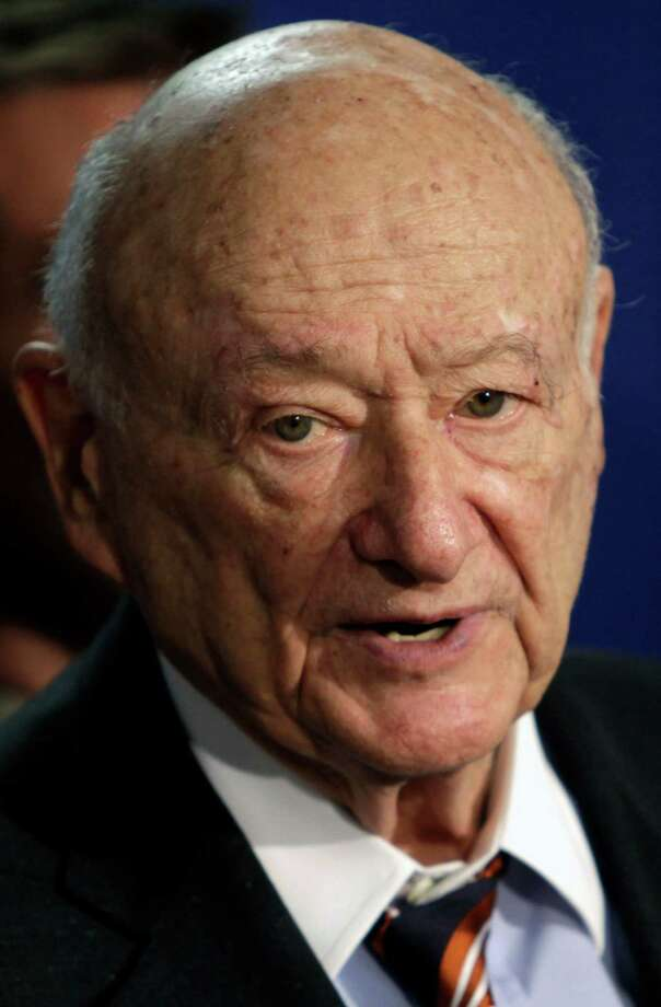 FILE - In this March 1, 2011 file photo, former New York Mayor Ed Koch speaks during a news conference in Albany, N.Y. Koch, 88, has been moved to intensive care, Thursday, Jan. 31, 2013. Spokesman George Arzt said that Dr. Joseph Tenenbaum, who's Koch's cardiologist and lead doctor, wanted to monitor the former mayor more closely. (AP Photo/Mike Groll, File) Photo: Mike Groll