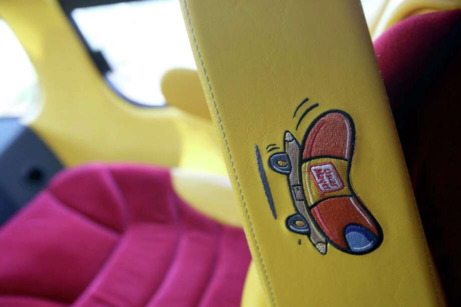A detail of the inside of the car seat of the  Oscar Mayer Weinermobile. Photo: Thomas B. Shea, For The Chronicle / © 2012 Thomas B. Shea