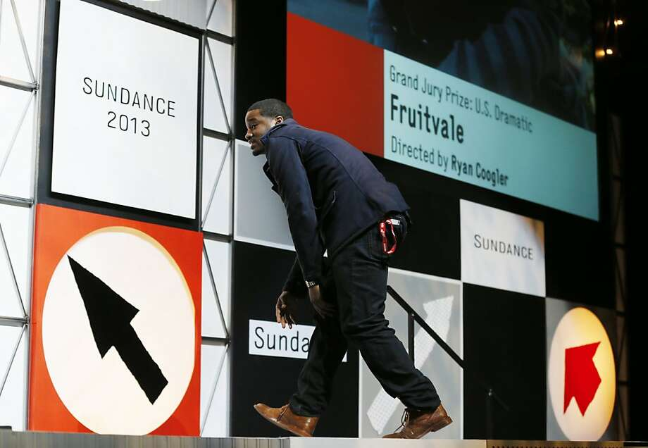 Ryan Coogler jumps on stage to accept the U.S. Grand Jury Prize at the Sundance Film Festival in Park City on Jan. 26. Photo: Danny Moloshok, Associated Press