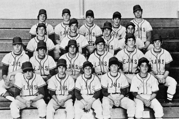 Steve Young on the Easter Junior High School baseball team. Front Row: Jim Schneider; Jay Batcha; John Inesta; Steve Young; Eddie Sheehan