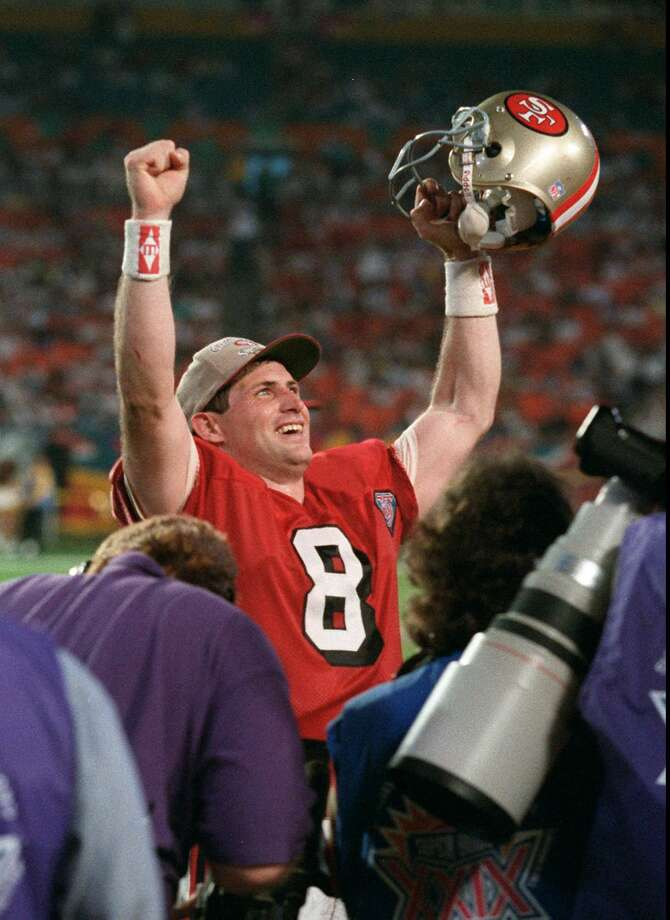 San Francisco 49ers quarterback Steve Young celebrates late in the fourth quarter of his team's 49-26 win over the San Diego Chargers in Super Bowl XXIX on Sunday, Jan. 29, 1995, at Joe Robbie Stadium in Miami (AP Photo/Doug Mills) Photo: DOUG MILLS, GT / AP