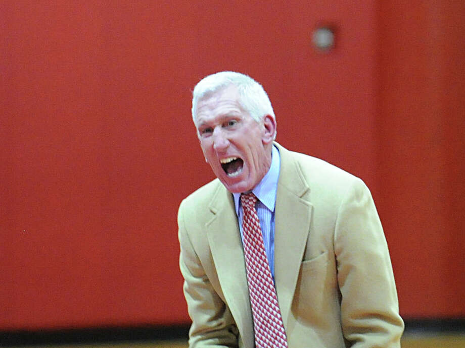 Brunswick wrestling coach Tim Ostrye reacts during the boys high school wrestling match between Greenwich High School and Brunswick School at Greenwich, Thursday night, Jan. 31, 2013. Photo: Bob Luckey / Greenwich Time