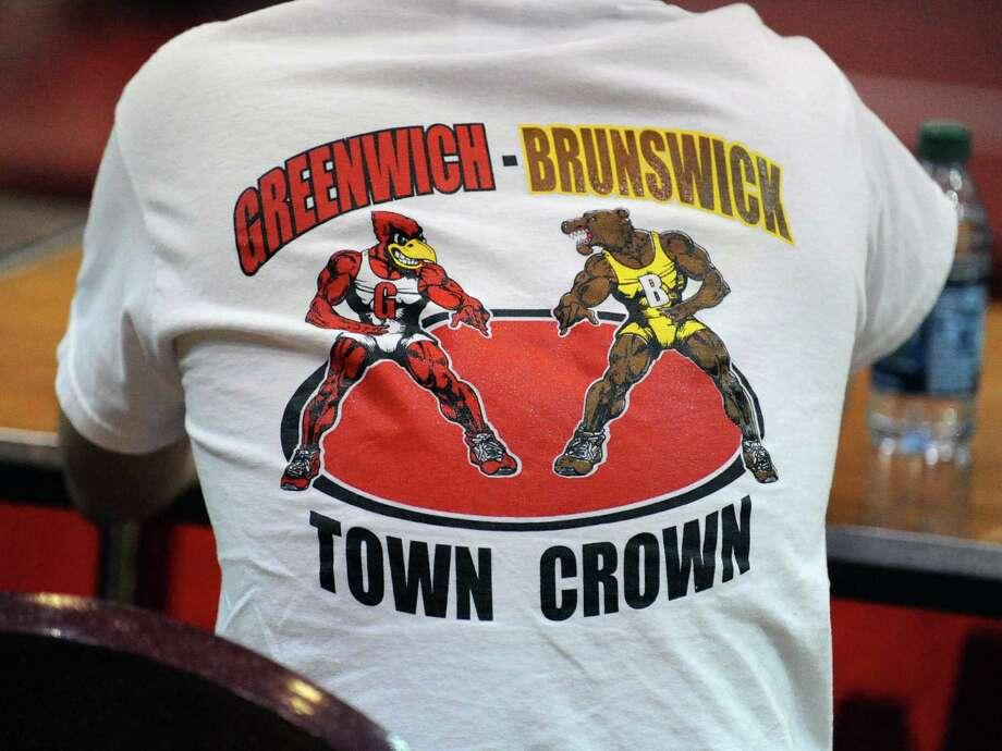 Scenes from the boys high school wrestling match between Greenwich High School and Brunswick School at Greenwich, Thursday night, Jan. 31, 2013. Photo: Bob Luckey / Greenwich Time