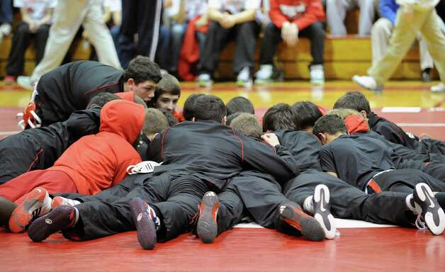 Scenes from the boys high school wrestling match between Greenwich High School and Brunswick School at Greenwich, Thursday night, Jan. 31, 2013. Photo: Bob Luckey / Greenwich Time