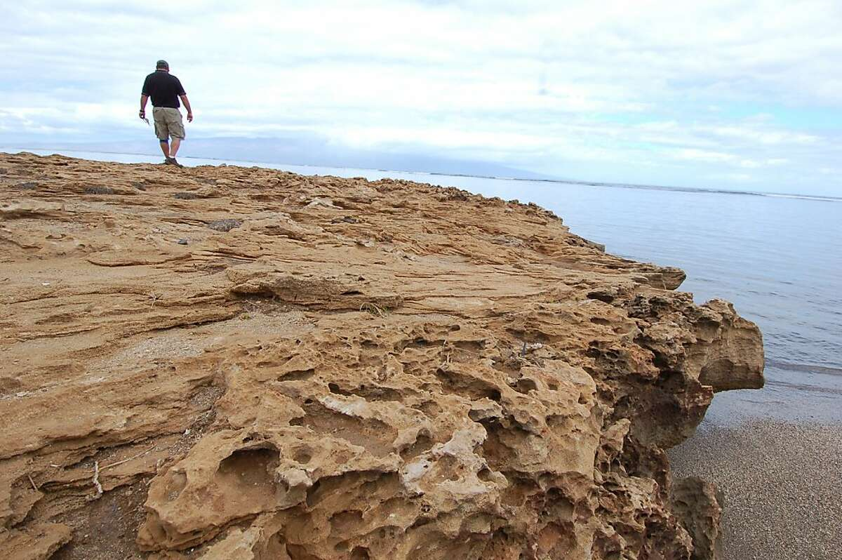 Rabaca's tour guide Bruce Harvey surveys the ocean from White Stone Beach, named for the uplifted coral and known as Kalaehi in Hawaiian. Volunteers with the Lana'i Culture & Heritage Center have helped restore the area.