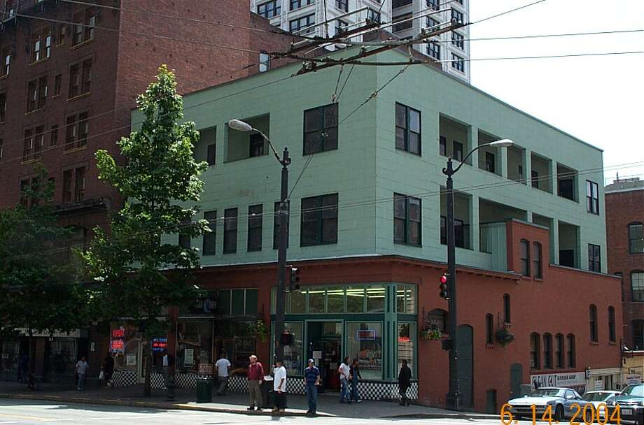 Old-timers will remember this corner at Third Avenue and James Street as Spin's Friendly Tavern, a favorite bar across the street from the King County Courthouse. Photo: King County Parcel Viewer