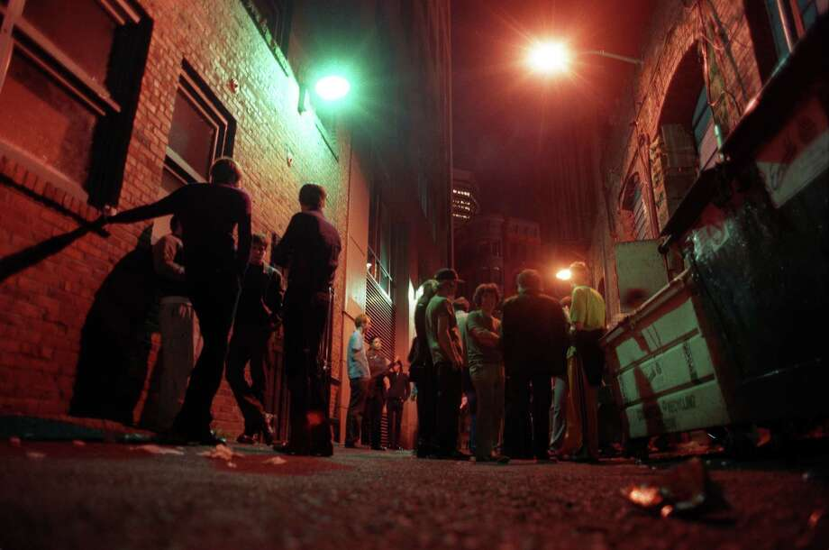 Velvet Elvis: In the '90s, this all-ages Pioneer Square club was the place to see music if you were under 21. But you had to wait in this alley to get in. Photo: SCOTT EKLUND
